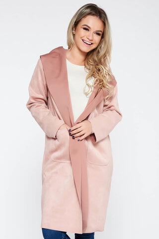 Cardigan SunShine rosa casual lung cu croi larg