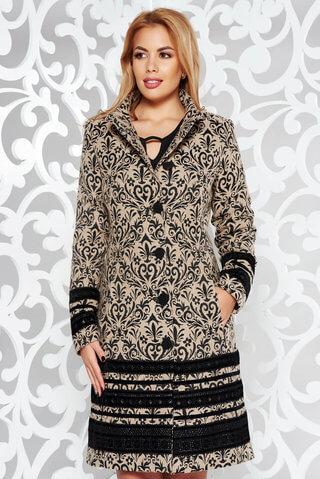 Palton LaDonna negru elegant cu un croi cambrat