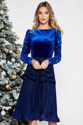 Rochie StarShinerS albastra de ocazie din catifea